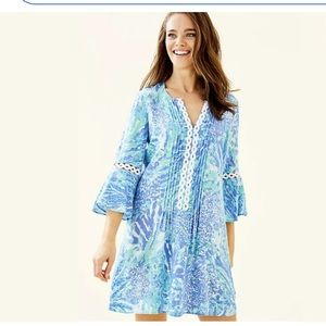 Lily Pulitzer Hollie Tunic Blue Hey Hey Soleil